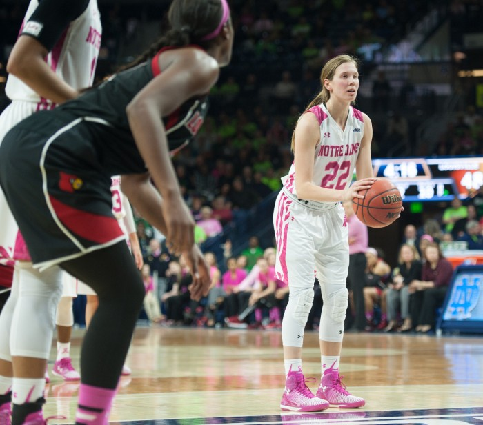 Senior guard Madison Cable shoots a free throw during Notre Dame's 69-52 win over Louisville on Monday at the Purcell Pavilion. Cable contributed seven points, two rebounds and a couple of steals in 25 minutes.