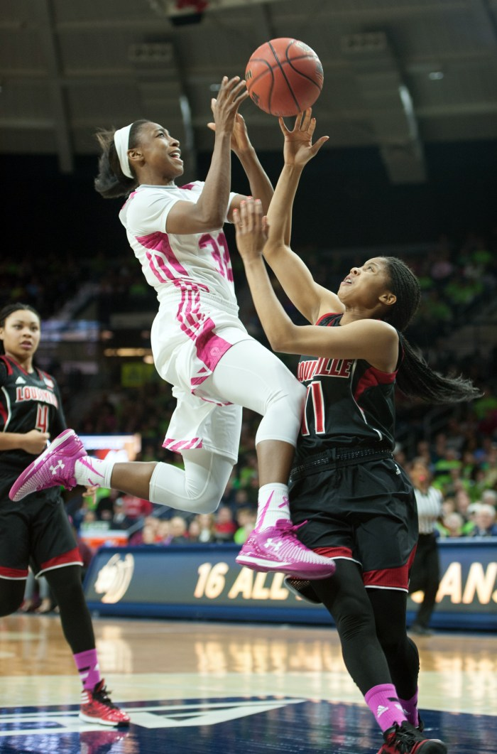 Irish junior guard Jewell Loyd leaps for a layup during a home win Monday against Louisville.
