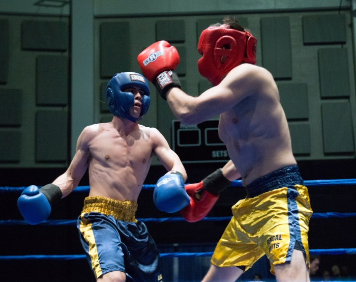 McGinley-center Blue, 20150224, Annmarie Soller, Bengal Bouts, boxing, JACC, Semifinals