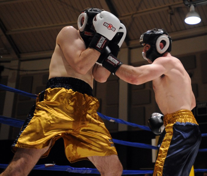 Senior Lucas Sullivan, right, fights in the 2014 Bengal Bouts at Joyce Fieldhouse on Feb. 17, 2014. Sullivan missed this year's tournament.