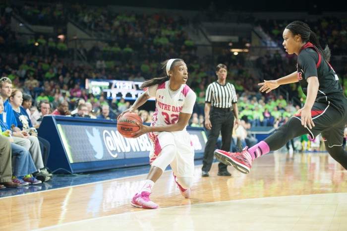 Irish guard Jewell Loyd looks to pass during a Feb. 23 win against Louisville. Loyd had 16 points Sunday at North Carolina State.