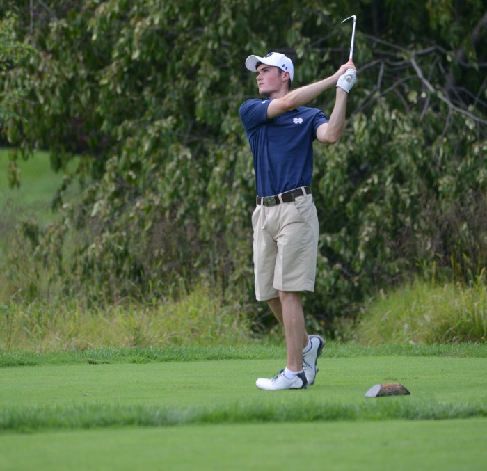 Irish sophomore Liam Cox tees off in the Notre Dame Kickoff  Challenge at Warren Golf Course on Aug. 31.