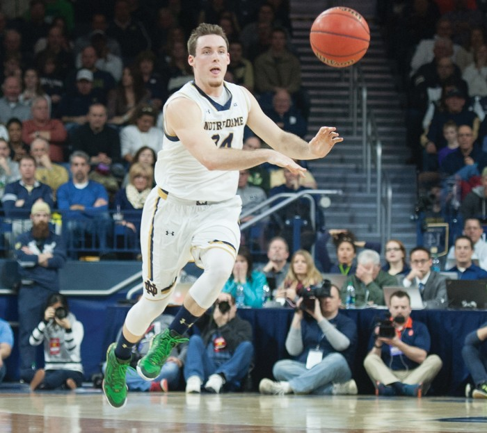 Irish senior guard/forward Pat Connaughton fires a pass downcourt during Notre Dame's 65-60 loss to Syracuse.