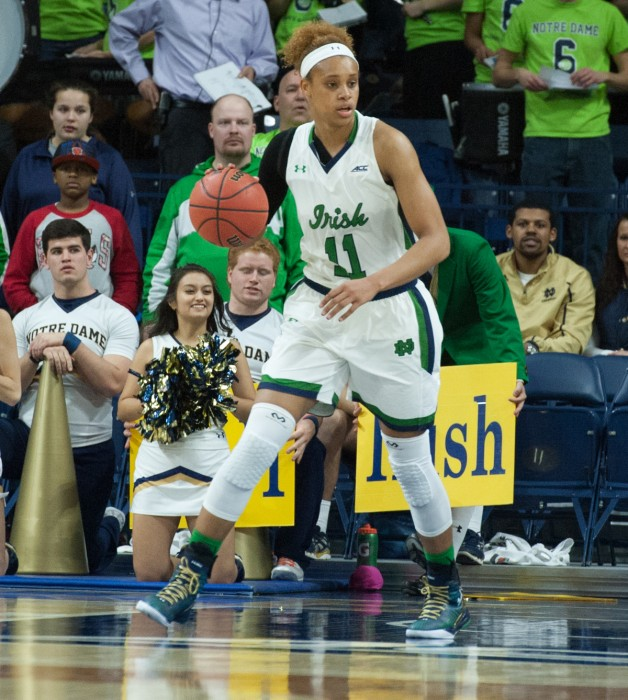 Irish freshman forward Brianna Turner looks downcourt during Notre Dame's win over Pittsburgh on Feb. 23.