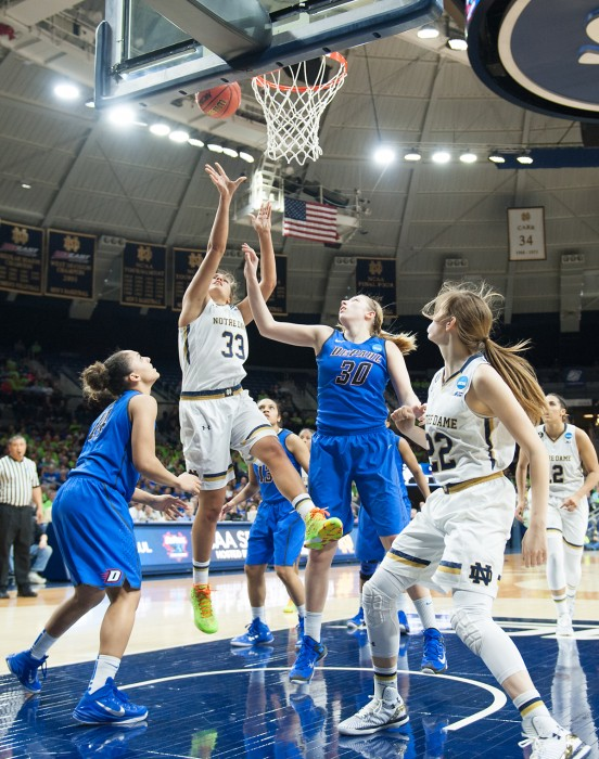 Irish freshman forward Kathryn Westbeld goes up for a shot during Notre Dame's 79-67 win over Depaul on Sunday at Purcell Pavilion.