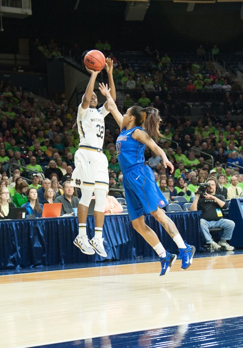 Junior guard Jewell Loyd attempts a three-pointer during Sunday night's win against DePaul in the  second round of the NCAA tournament. Loyd had ten points in the 79-62 victory at Purcell Pavilion.