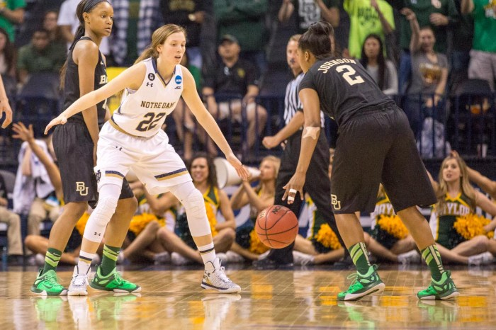 Irish senior guard Madison Cable defends Baylor junior guard Niya Johnson during the Notre Dame win Sunday.
