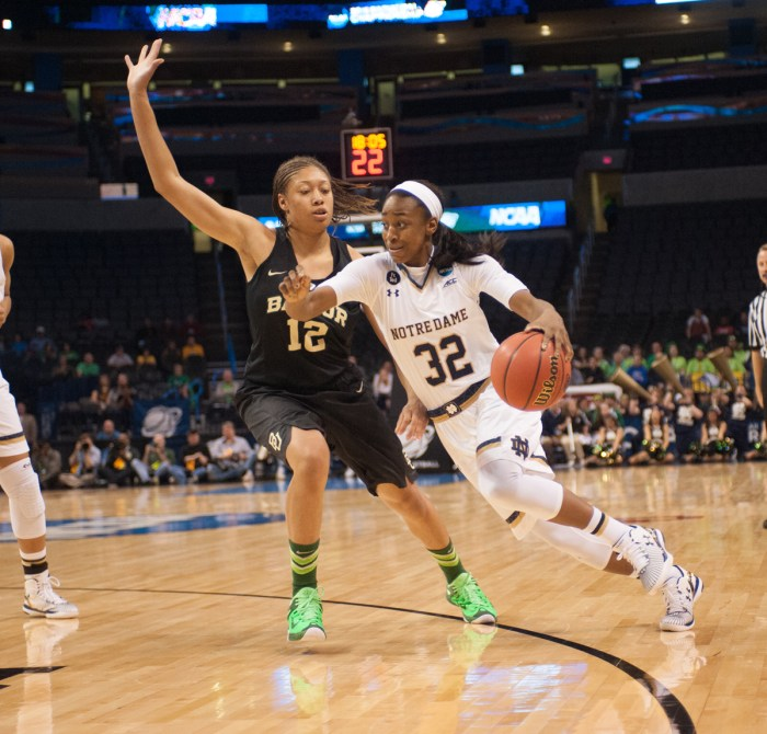 Irish junior guard Jewell Loyd drives past Baylor redshirt sophomore guard Alexis Prince in Notre Dame's 77-68 win in the Elite Eight.