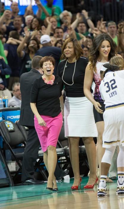 Irish head coach Muffet McGraw celebrates following the Irish victory over South Carolina on Sunday night.