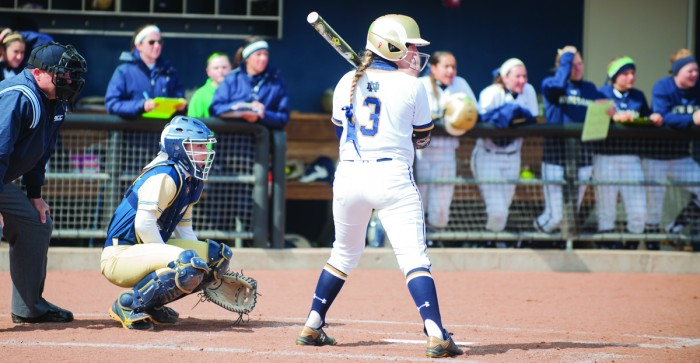 Senior outfielder and two-time All American Emilee Koerner steps up to bat during the March 31 win against Georgia Tech.