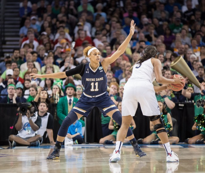 Freshman forward Brianna Turner plays defense during the 63-53 loss to Connecticut on Tuesday night in Tampa.