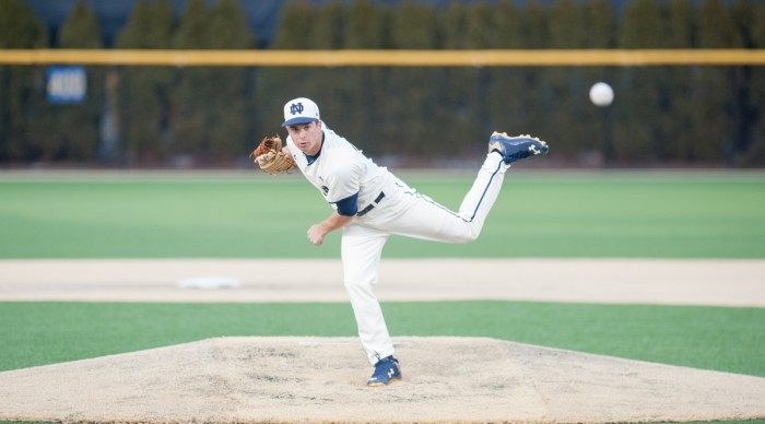 Sophomore left-hander Scott Tully delivers a pitch during Notre Dame's 8-3 win over Central Michigan on March 18.