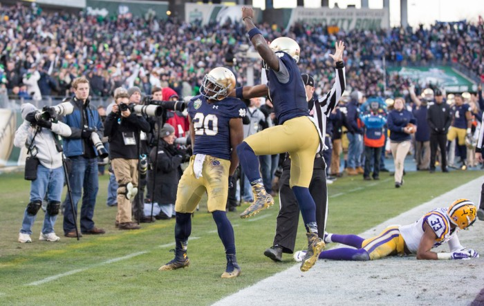 Senior C.J. Prosise celebrates his 50-yard touchdown rush during Notre Dame's 31-28 win over LSU on Dec. 30 in the Music City Bowl.