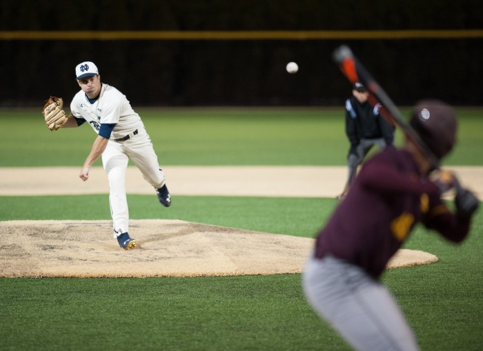 Sophomore left-hander Scott Tully pitches the ball to a Central Michigan batter in the 8-3 win at Frank Eck Stadium.