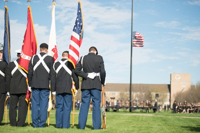 Members of Notre Dame's ROTC saluted the American flag during Wednesday's annual Pass in Review ceremony on South Quad.