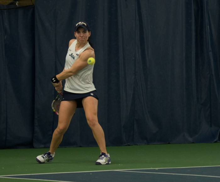 Irish freshman Allison Miller returns a shot against Stanford on Feb. 6. The Cardinal defeated the Irish, 6-1, at Eck Tennis Pavilion.