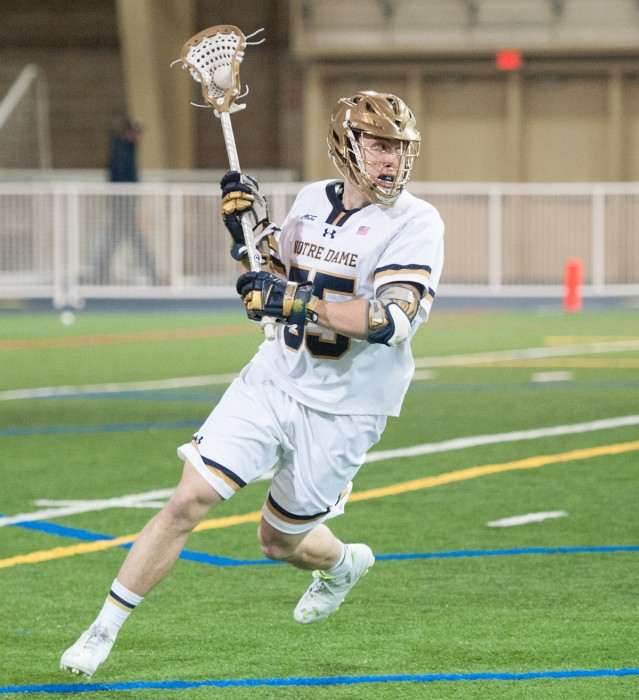 Junior defender Thomas Stephan handles the ball against  Georgetown on Feb.14. The Irish are 8-1 on the season.