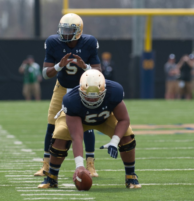 Graduate student quarterback Everett Golson prepares to receive a snap during Saturday's Blue-Gold Game at LaBar Practice Complex.