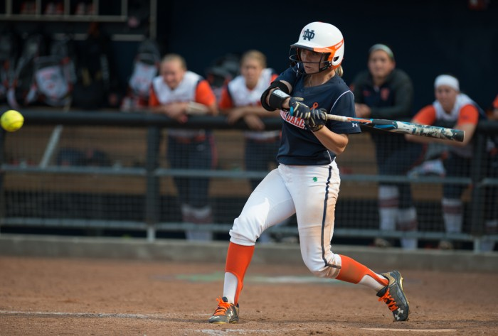 Senior outfielder Emilee Koerner swings at a pitch in a 2-0 win against Syracuse on April 18 at Melissa Cook Stadium.