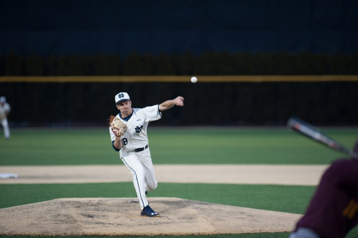 Irish sophomore pitcher Scott Tully delivers a pitch during Notre Dame's 8-3 win over Central Michigan on March 18. Tully pitched 6 1/3 innings in Notre Dame's 6-5 loss to Indiana yesterday.