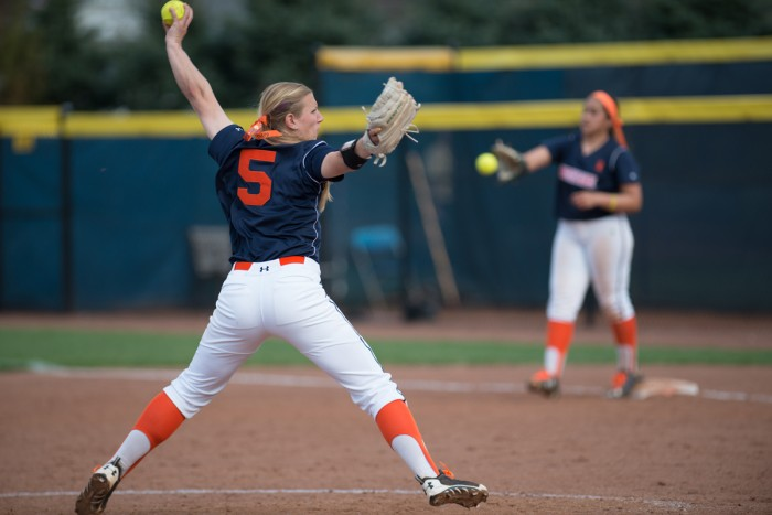 Junior pitcher Allie Rhodes winds up against Syracuse at Melissa Cook Stadium on Saturday.  After a win last night, Rhodes is now 17-4.