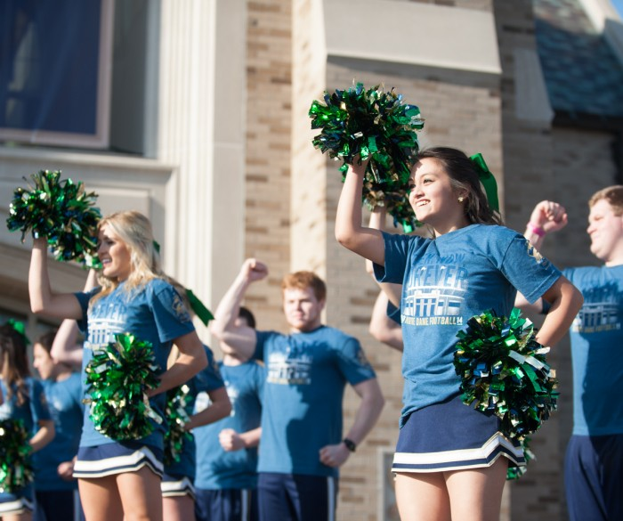 Notre Dame cheerleaders lead the crowd in chants for last year's unveiling ceremony for the 25th anniversary of The Shirt.