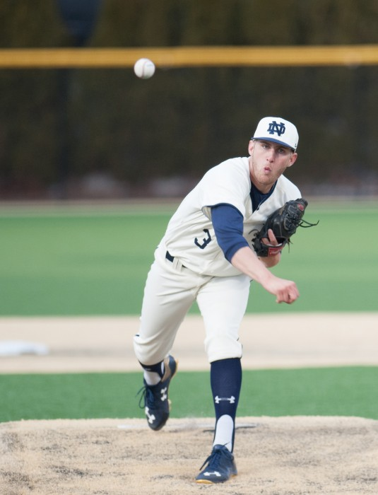 Irish sophomore right-hander Ryan Smoyer delivers a pitch during Notre Dame's 8-3 win over Central Michigan at Frank Eck Stadium on March 18.