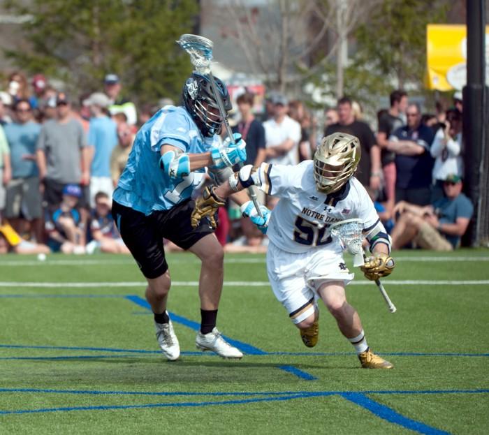 Junior attack Matt Kavanagh escapes a North Carolina defender in a narrow 15-14 win over the Tar Heels on April 18 at Arlotta Stadium.