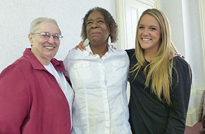 Sister Linda Bellemore (left) introduced South Bend resident Sheila Muhammad (center) and SMC senior Morgan Carroll. Carroll recorded and transcribed Muhammad's life story for Muhammad's children.
