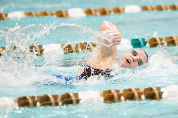 Irish senior Emma Reaney swims in the freestyle portion of the 200-yard individual medley during the Shamrock Invitational on Jan. 31, 2014 at Rolfs Aquatic Center. Reaney finished in a then-pool record 1:58.95 on her way to the win.