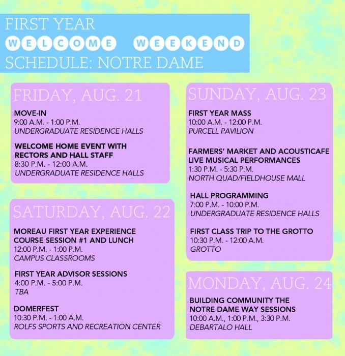 Welcome Weekend Schedule