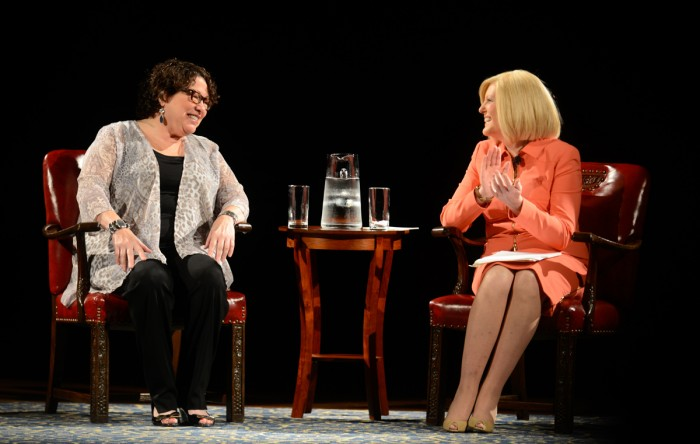 Supreme Court Justice, Sonia Sotomayor, converses with NBC news  correspondent, Anne Thompson, on Wednesday night in the DeBartolo Performing Arts Center.
