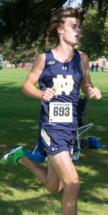 Sophomore Calvin Kraft runs in last year's National Catholic Championships on Sept. 19 at Notre Dame Golf Course.