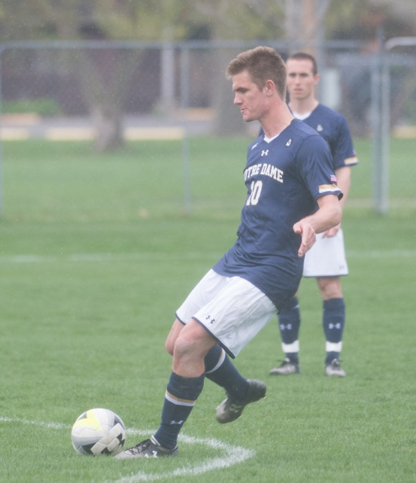 Junior defender Brandon Aubrey passes the ball during a spring exhibition against Valparaiso on April 19 at Old Alumni Field.