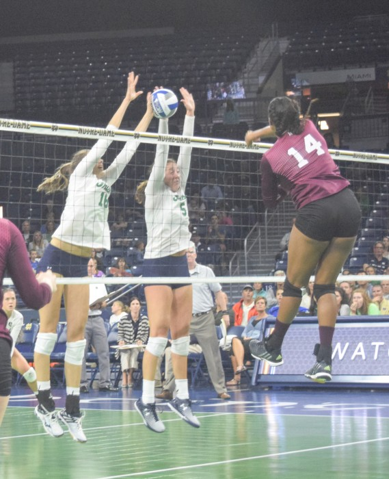 Irish freshman middle blocker Meg Morningstar attempts a block during Notre Dame's 3-1 win over Mississippi State on Sept. 11.