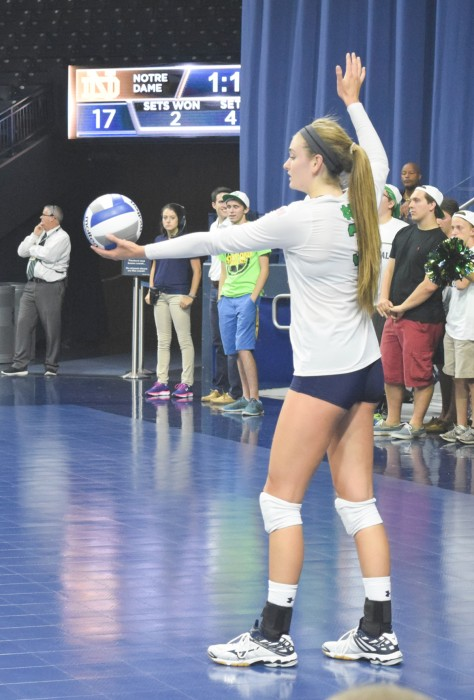 Sophomore outside hitter Sam Fry serves during Notre Dame's 3-1  victory over Mississippi State at Purcell Pavilion on Sept. 11.