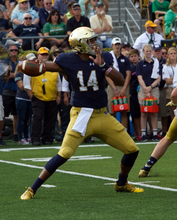Irish sophomore quarterback DeShone Kizer winds up to throw during Notre Dame's 62-27 win over Massachusetts on Saturday at Notre Dame Stadium.