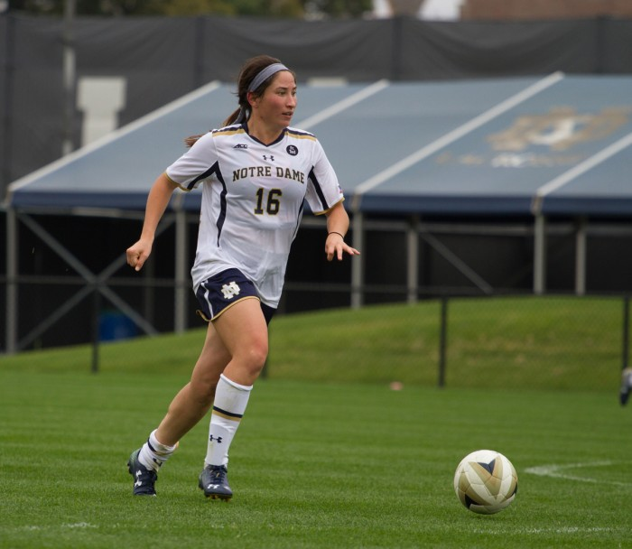 Junior midfielder Sandra Yu surveys the field during a 1-0 loss to Florida State on sept. 27 at Alumni Stadium.