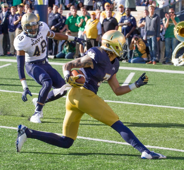 Irish junior receiver Will Fuller cuts toward the end zone for an eventual touchdown Saturday.