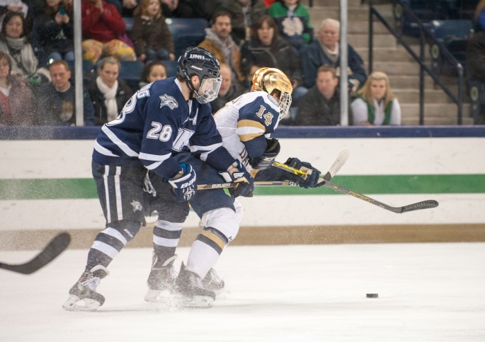 Senior center Thomas DiPauli battles with a New Hampshire defender during a 5-2 defeat at Compton Family Ice Arena on Jan. 30. DiPauli scored during the team's 3-3 tie with Minnesota Duluth on Saturday.