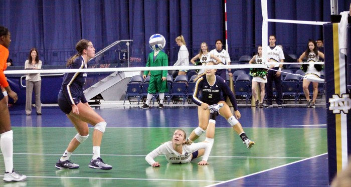 Irish freshman libero Ryann DeJarld completes a dig during Notre Dame's 3-2 loss to Syracuse on Oct. 4 at Purcell Pavilion.