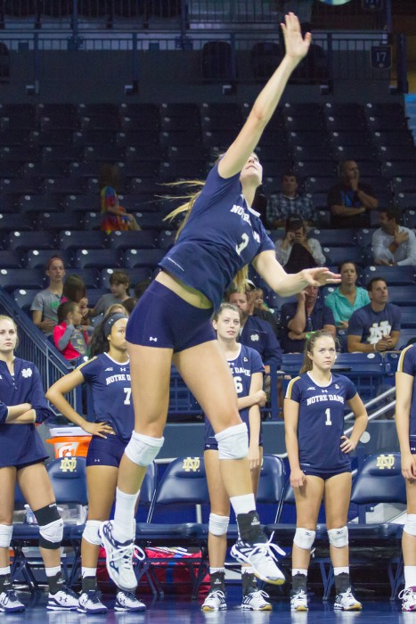Sophomore outside hitter Sam Fry hits an overhead serve during Notre Dame's 3-0 loss against No. 15 Florida State on Sept. 27 at the Purcell Pavilion. Fry recorded six kills along with a serving ace.