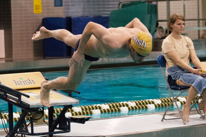 Senior Andrew Jensen dives into the pool at Rolfs Aquatic Center during a meet against Purdue on Nov. 1, 2014. The team hits the road for the first time this season when it travels to Virginia this weekend.