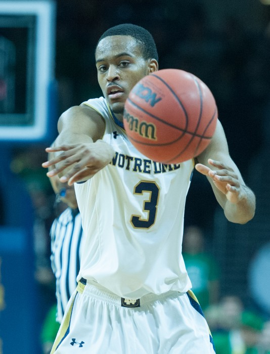 Junior forward V.J. Beachem throws a pass during a 88-75 victory over Wake Forest on Feb. 17 at Purcell Pavilion. Beachem had 10 points and three rebounds in the game.