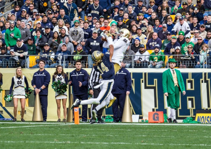 Junior receiver Will Fuller hauls in his third touchdown reception of the day Saturday in Notre Dame's 42-30 win over Pittsburgh.