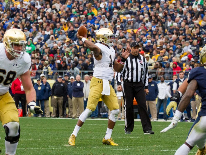 Sophomore quarterback DeShone Kizer drops back to pass during Notre Dame's 42-30 victory over  Pittsburgh on Saturday at Heinz Field. Kizer accounted for all six Irish touchdowns in the win.