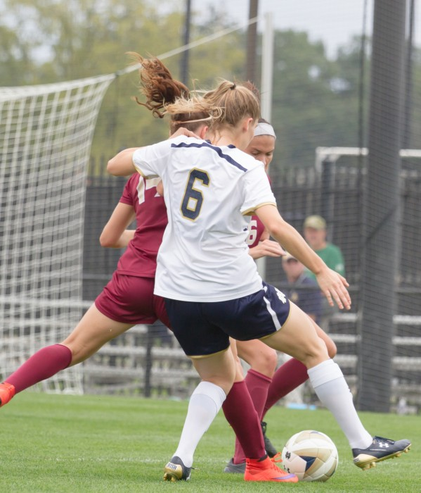 Irish senior forward Anna Maria Gilbertson battles defenders for the ball during Notre Dame's 1-0 loss to Florida State on Sept. 27.