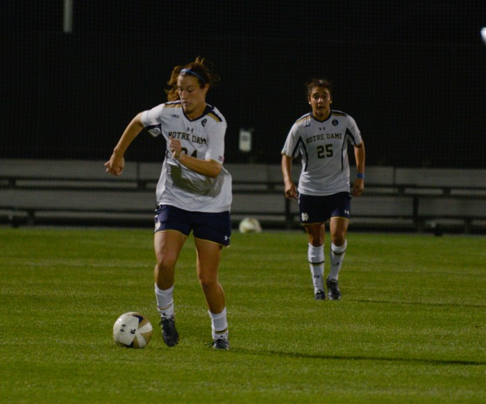 Irish senior defender and captain Katie Naughton dribbles up the field during Notre Dame's 2-1 win over Santa Clara on Aug. 28.Irish senior defender and captain Katie Naughton dribbles up the field during Notre Dame's 2-1 win over Santa Clara on Aug. 28.