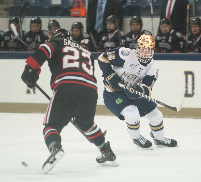 Irish sophomore center Connor Hurley looks to attack the puck during Notre Dame's 3-2 win over  Northeastern on Thursday at Compton Family Ice Arena. Hurley scored one goal in Friday's 2-2 tie.