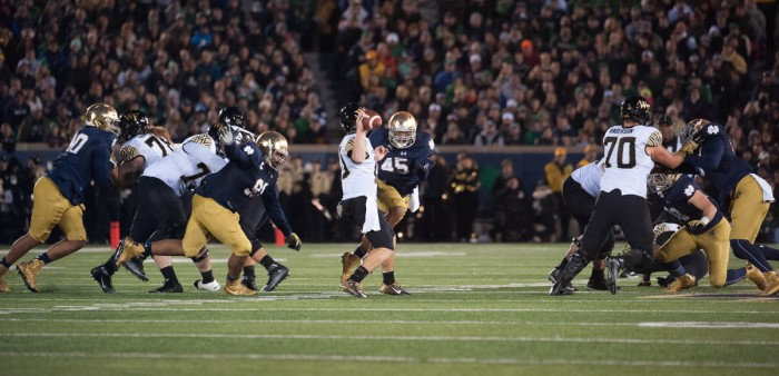 Senior defensive lineman Romeo Okwara pressures the quarterback during Notre Dame's 28-7 victory over Wake Forest on Saturday.